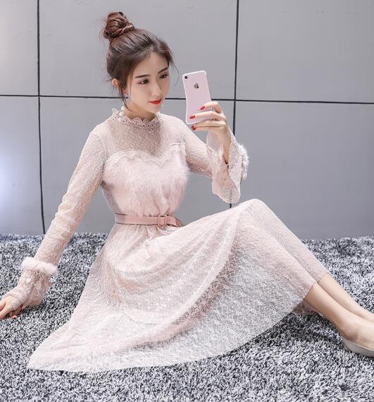 韓国ファッション ♥デートにおすす ショートワンピース レース切り替えし 可愛い フェミニン エレガント レースワンピース