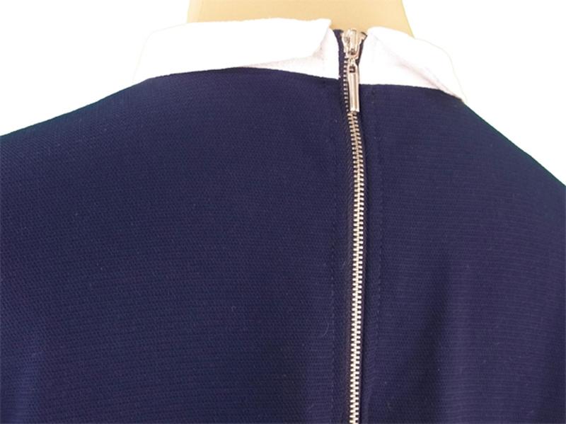 ザラ ベーシック ZARA BASIC ワンピース 半袖 レディース ♯USA Sサイズ 衿付き ネイビー×ホワイト  良品 セール 【中古】 R1224 .