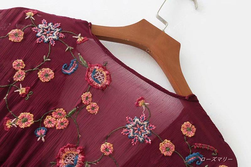 【ローズマリー】秋の女装Vネック半袖ワンピース積層装飾正面コーデに刺繍裾積層装飾短いスカート スイート 花柄 ヴィンテージ調 刺繍レース  ベーシック 大人気-QQ3305