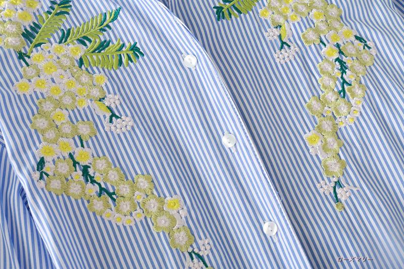 2017秋新型欧米風ファッションストライプ刺繍長袖シャツ女中のロングストラップゆったりワンピース シャツワンピース ストライプ ロングシャツ ワンピース -QQ1351