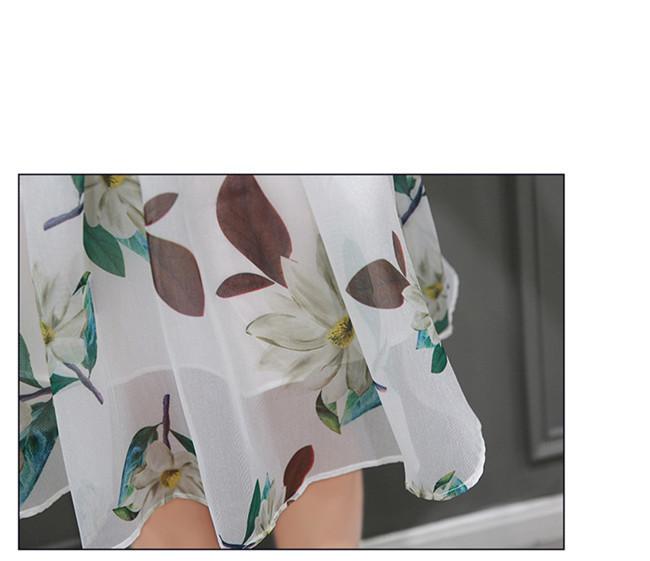 ワンピース レディース スカート☀夏新作☀【AYA】シフォン  シャツ+スカート  レイヤード♥プリント ラウンドネック エンパイア 台形スカート 着痩せ スリム ★ 女性らしい、一枚でお洒落♪