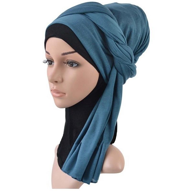イスラム教徒のイスラム女性ヒジャブファッショントルコターバンジャージースカーフショールズラブソリッドカラープレーンスカーフ