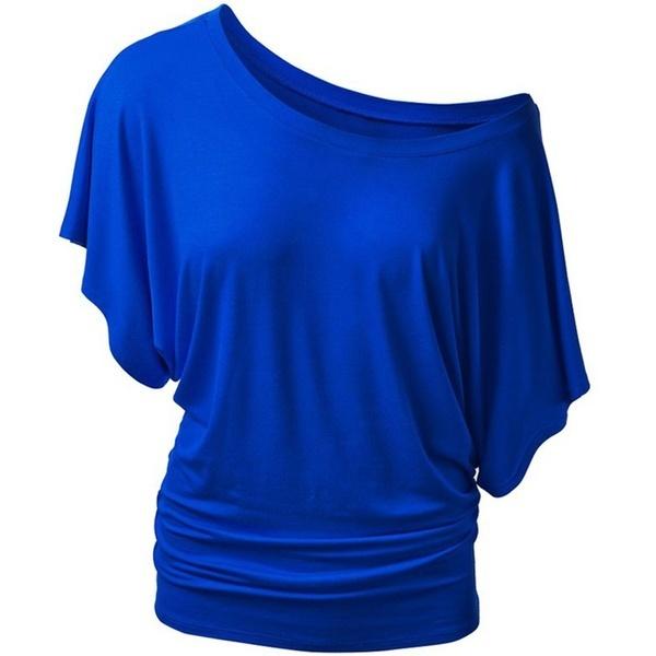 シンプルで快適なラウンドネックバットスリーブ半袖Tシャツ