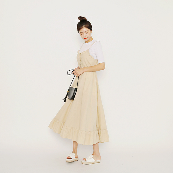 ★FREE SHIPPING★ IM3 Sandy Smoke Frill Dress / Korean Fashion / Made in Korea / Casual One-Piece