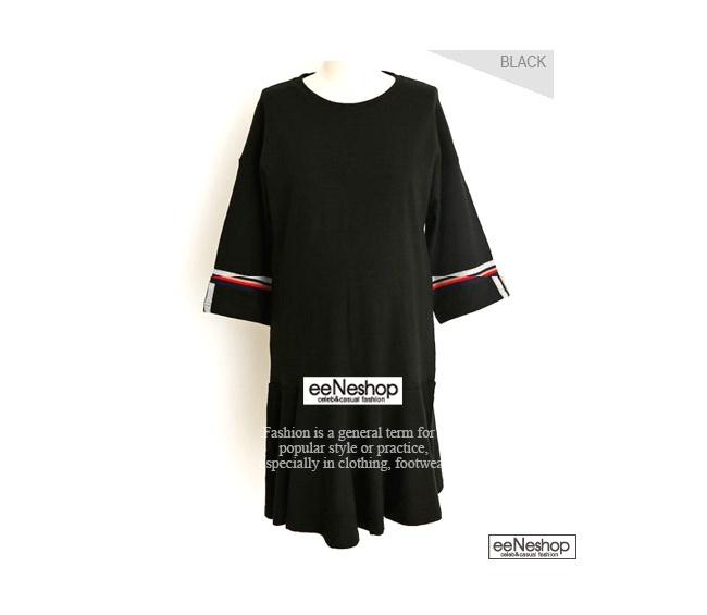 ★送料無料★トリコロール パイピングスリーブ フレアワンピース レディース 韓国ファッション ワンピース Tシャツ バッグ リュック パーカー