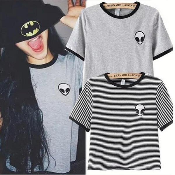 ファンタスティックな新しいファッション高品質の3Dプリントエイリアンクロップトップ半袖Tシャツ女性トップスガールズカス