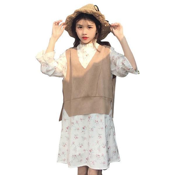 【送料無料】レディース ワンピース 花柄 白 ひざ丈 ニット 重ね着 ドレス 2017 新作