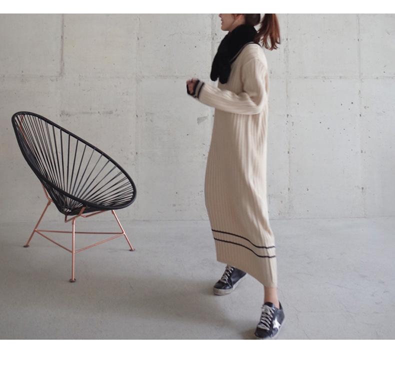 春新作 ゆったり 毛糸編み ロングスカート Vネック 着やせタイプ 長袖 レディースワンピース 大きいサイズ 小さいサイズ