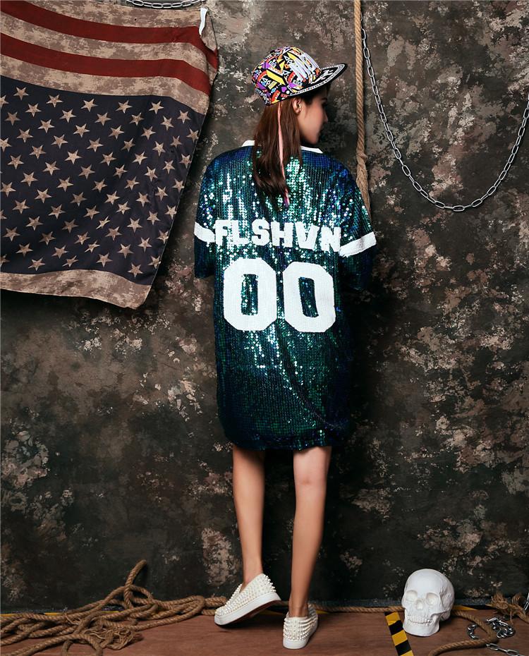 スパンコール バスケットボール 半袖 Tシャツ  ビッグサイズ ダンス衣装 トップス ロングT ダンス ダンス コスチューム ダンス コスチューム スパンコール タンクトップ レディース 衣装 ヒップホップダンスゴールドグリーン