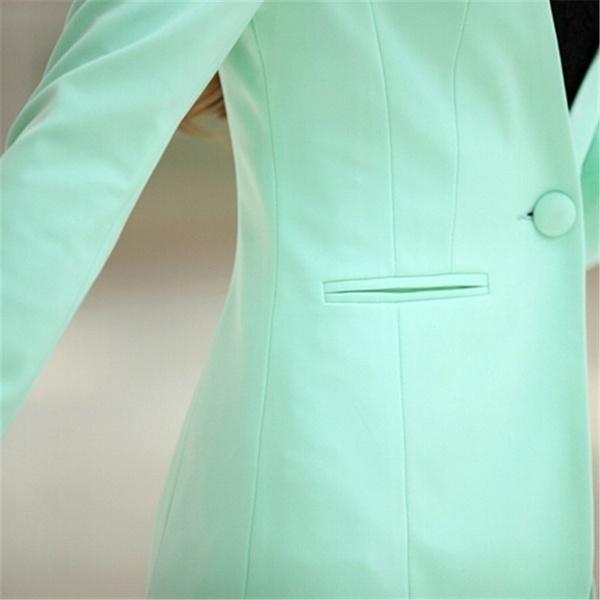 秋の女性ブレザーとジャケットキャンディーカラージャケット長袖スリムスーツワンボタンレディースジャケット7