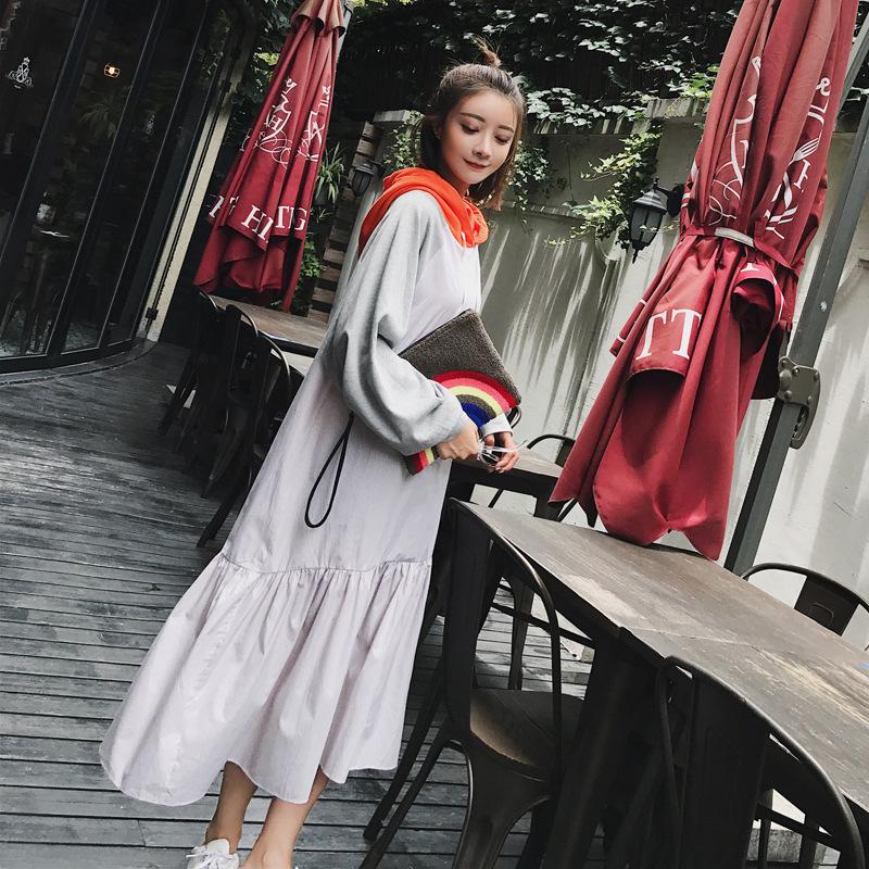 【RE】2017秋服韓国街拍レジャー前に短くなって長フード魚女長めスウェットワンピース ロングワンピース スウェットワンピース 韓国ファッション 高品質 ベーシック-SS562