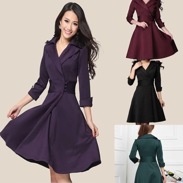 ファッションミッドスリーブイブニングドレス女性純粋なOL職業ラペルラップドレスボタンV-Ne