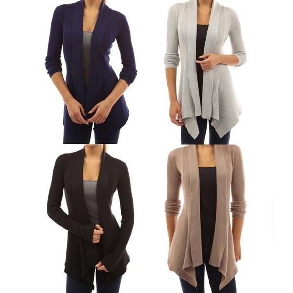 新しいファッション女性のカジュアルスレッドロングスリーブパッチワークカーディガンセーターオープンフロントコート