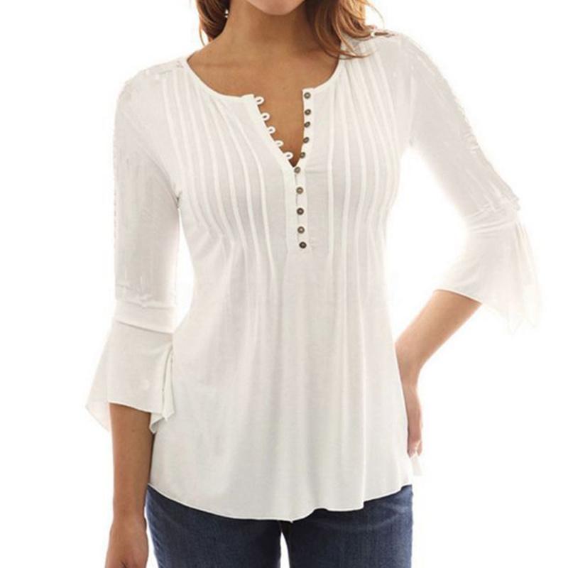 セクシーな女性のルーズなVネックフレアスリーブスリーブシャツトップブラウスTシャツ