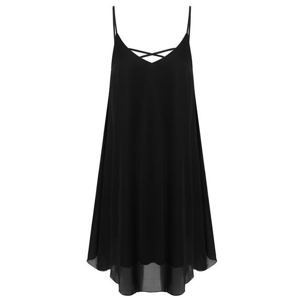 最高品質Zeagoo女性Vネックスパゲッティストラップシフォンサンレスノースリーブビーチドレス