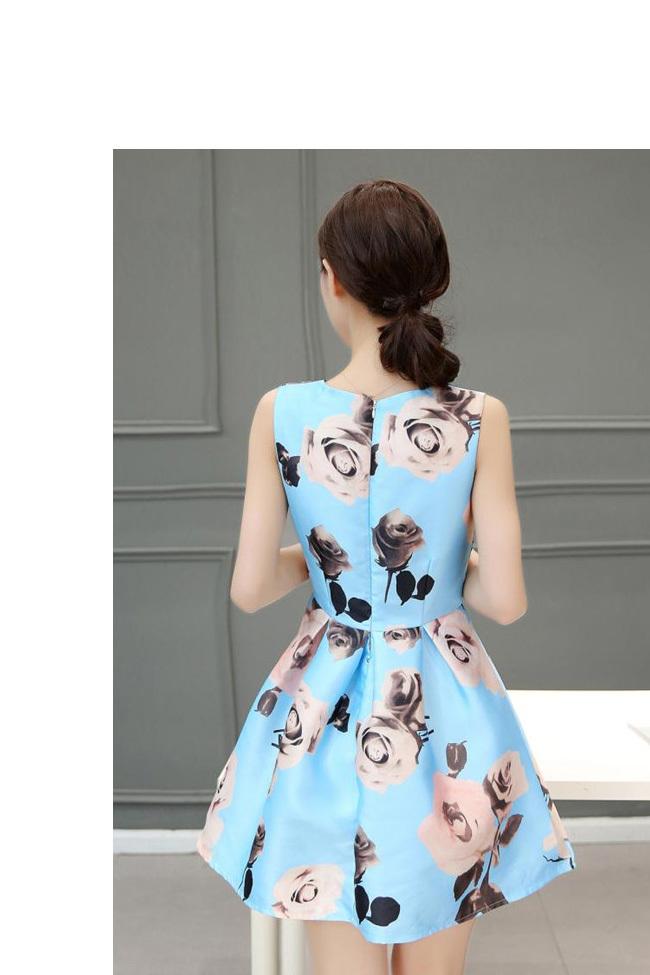 ☀夏新作☀【AYA】シフォン ラウンドネック 通勤 プリント 台形スカート ミディアムドレス ワンピース 着痩せ スリム ★ 女性らしい、一枚でお洒落♪