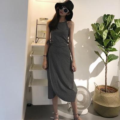 夏 新しいデザイン 女性服 韓国風 着やせ 着やせ 短いスタイル ストライプス ベスト