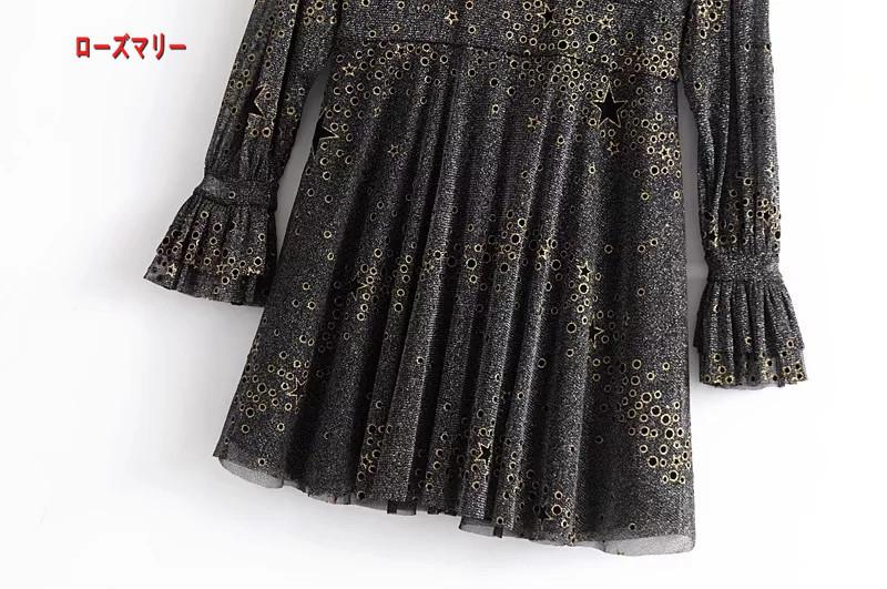 【ローズマリー】欧米風2018早春新型女装ファッション百搭光星柄のワンピース 長袖ワンピース ヴィンテージ調-QQ5810