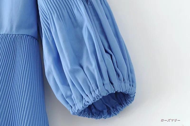 【ローズマリー】欧米2017秋新型オルガン圧ひだパフスリーブの靑いプリーツ裾のワンピース ミニスカート  ベーシック 大人気 かわいい-QQ3217