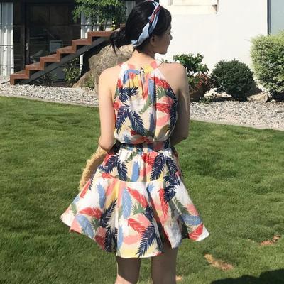 夏 新しいデザイン 女性服 カラー ツリーの葉 プリント 肩なし ホルターネック ベスト