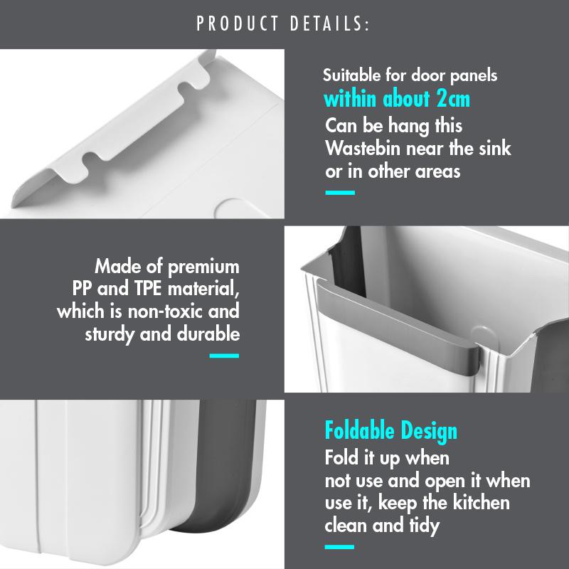 Qoo10 Houze Multi Purpose Kitchen Foldable Open Top Hanging Wastebin Whit Furniture Deco