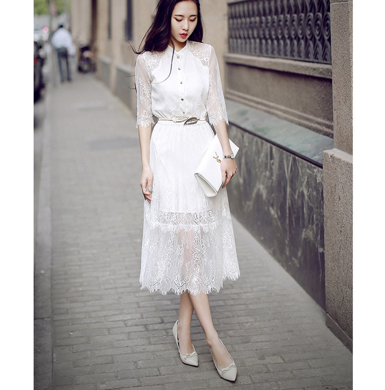 2017早秋  韓国ファッション  レディース  ワンピース 流行 体型 カバー   長袖  レース 可愛い  上質   SKZ132