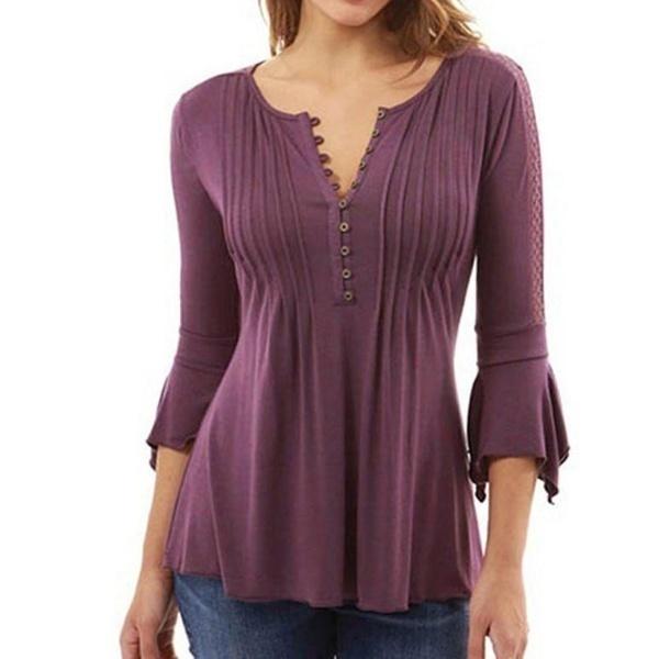 8サイズプラスサイズ女性秋フレア3/4袖スリムVネックボタンブラウストップスTシャツS-5XLベスト