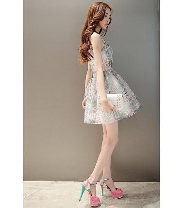 レディース ファッション プリンセスドレス ノースリーブ ワンピース ワンピースドレス 花柄 ゆるふわ かわいい キュート レース 大人カジュアル 夏 外出 デート 旅行 クリーム 送料無料