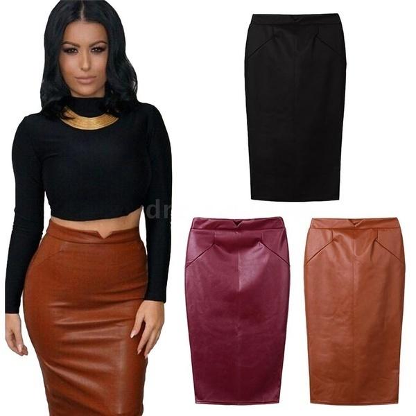 ファッション女性ソフトPUレザースカートハイウエストスリムヒップペンシルスカートヴィンテージボディコンミディスカートセックス