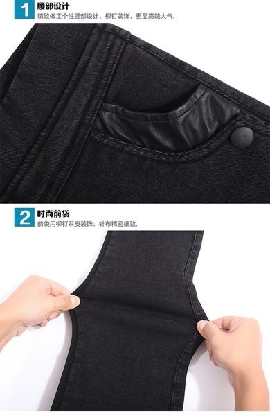 2017春と秋ハイウエスト伸縮性プラスサイズの女性スキニーパンツイミテーションデニムパンツフェムス