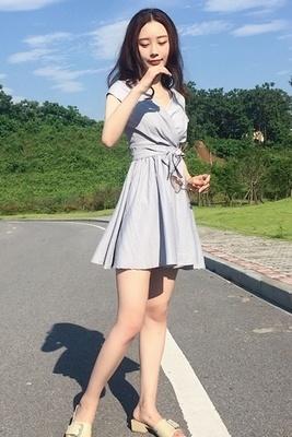 韓国 アンティーク調 セクシー ボタン 中長デザイン 格子縞 スリング ワンピース  女