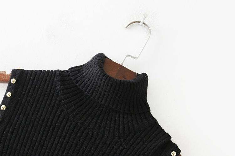 2018春の新型、欧米、肩漏れ、透かし彫り、ニット、ワンピース