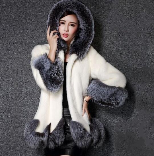 レディースソフトアウトレットフェイクファー毛皮ウォームフードコートオーバーコートジャケット(ブラック、ホワイト)