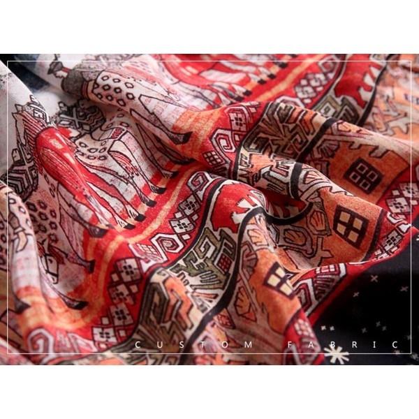 七分袖 ワンピース マキシ丈 ドレス アンクル丈 ロングスカート 大きいサイズ カシュクール リゾート ビーチ レトロ 春 夏 Vネック 柄物 スリット入り