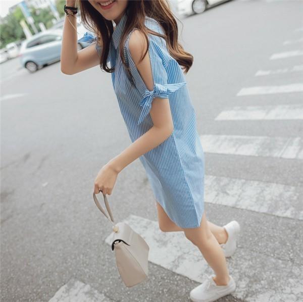 レディースワンピース 韓国無地 スリム 韓国のファッション   A字ストライプワンピース  ベアトップ プリントワンピース 半袖ワンピース  学院風 ハイセンス 着心地いい おしゃれ 夏 スリム セール★ レディースワンピース