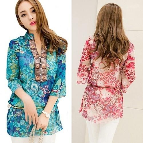 シックな女性夏韓国スタイルエスニックルーズシフォンブラウスTシャツ