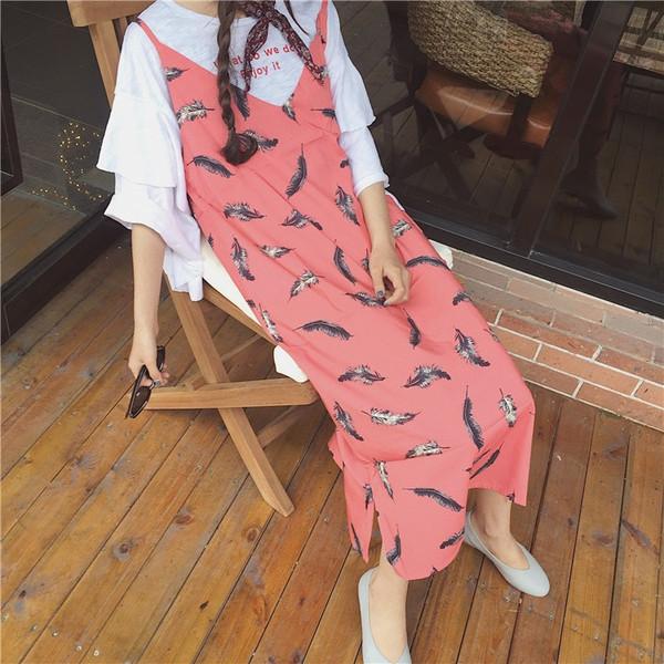 【送料無料】羽根柄ロングキャミワンピース レディース フレア モノトーン カジュアル シンプル 2017 新作 ファッション