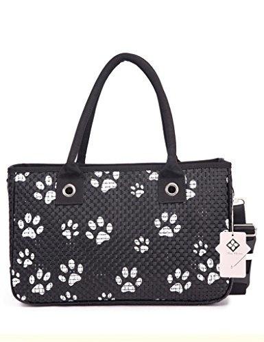 (トムクローバー) Tom Clovers ペット用 キャリーバッグ 猫足跡 かわいい 通気 小型犬用/猫/小動物 ブラック