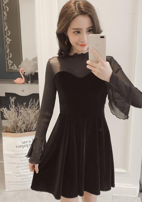 [55555SHOP]韓国ファッション レース パーティードレス 結婚式 ドレス お呼ばれドレス フォーマル ワンピース