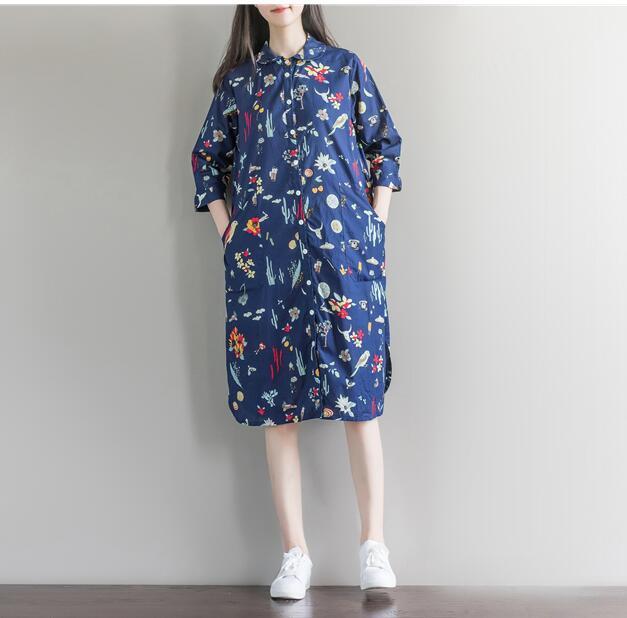 ワンピース 花柄 シャツ フリルスリップ フレア 膝丈ワンピース ワンピース 長袖 大きいサイズ 着痩せ 体型カバー