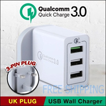 Qualcomm  Quick Charge 3.0 USB Wall Charger /3Port /4 Port with QC 3.0 Port  /UK Plug