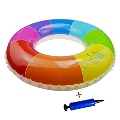 Swimming Pool Floats,ZICA 28 Inch Inflatable Pool Floats Tube Rafts for  Kids Ages 3-12 (Rainbow)