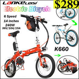 Fast-folding Electric Bicycle /6 7 Speed/2036/48V 240W / Super Light/ Folding Pedal/Disc Brake