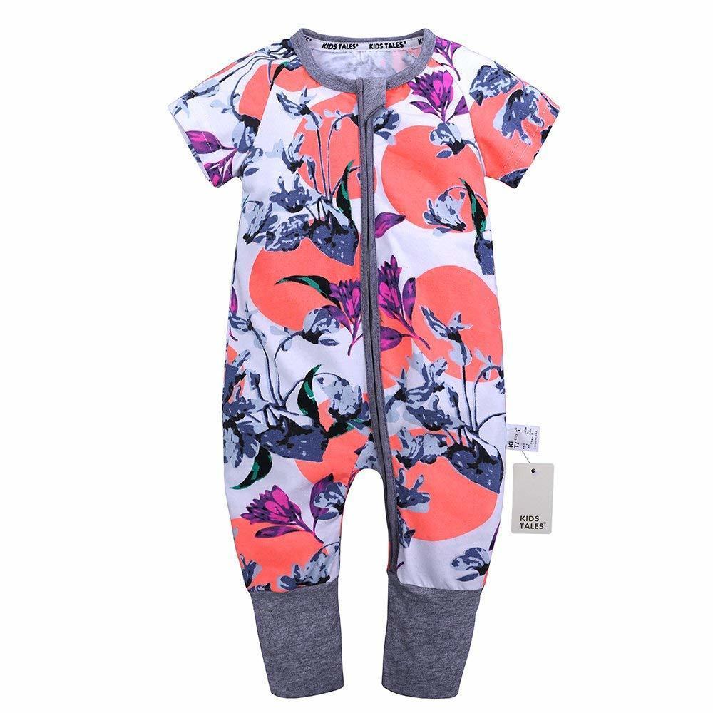 Kids Tales Baby Boys Girls Zipper Short Sleeve Pajama Sleeper Cotton Romper Size 3M-3T