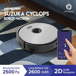 【LATEST 2021】Suzuka Cyclops Robot Vacuum Cleaner Triple Navigation Wifi App Map Display Remote