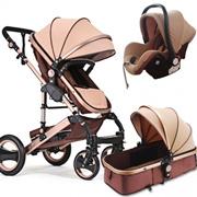 Premium 2-In-1 Luxury Single Bassinet Baby Stroller Reversible Travel System Stroller Pushchair Baby