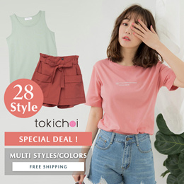 [Buy 2 free shipping] TOKICHOI - Tops + Bottoms T-shirt Skirt Pant Multi Color - Flash Deal