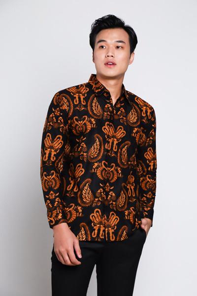 Adiwangsamodern Batik Shirt Model Mens Slim Fit Short Sleeve Shirt 086