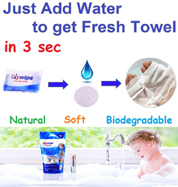 Ezywipe / Compressed Towel / Face Bath Beach Towel / Resuable / Wipes / Travel / Baby Care / Outdoor / Trekking / Camping / Kitchen / Wet Tissue / Cycling / Excursion / Seaside / Clean / Lightweight
