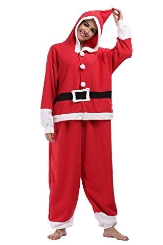 (Fanny Sandy) Fanny Sandy Unisex Adult s Christmas Onesie Mrs Santa Costume  Hoodie Pajamas 5c046a3d3